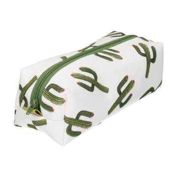 Cactus Print White Small Cosmetic Bag