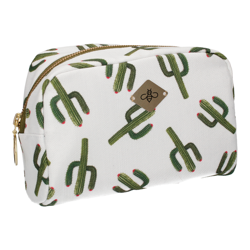 CACTUS IN WHITE COSMETIC BAG (LARGE)