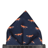 Foxes in Navy Blue Pocket Square
