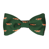 Dark Green Foxes Print Bow Tie