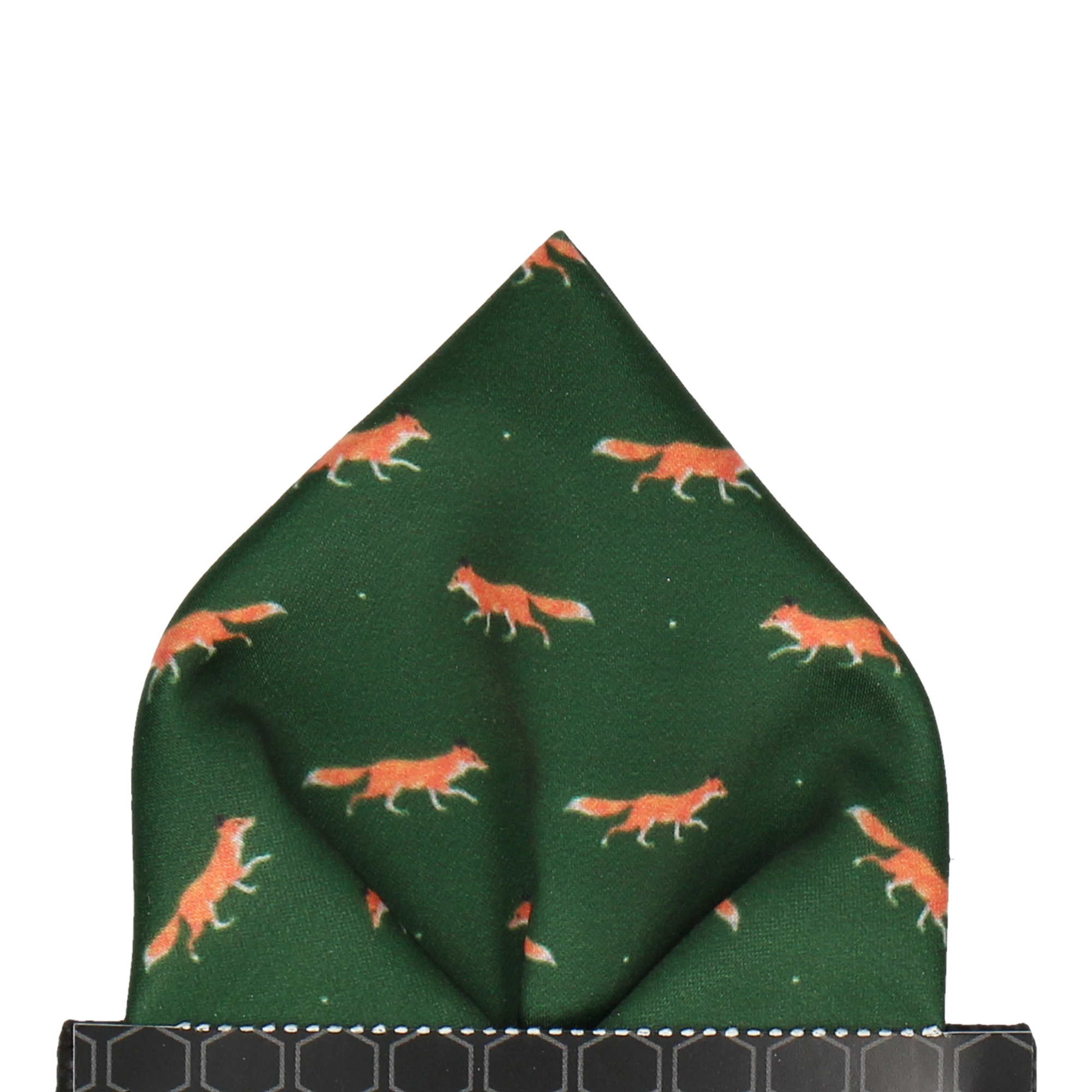 Foxes in Dark Green Pocket Square