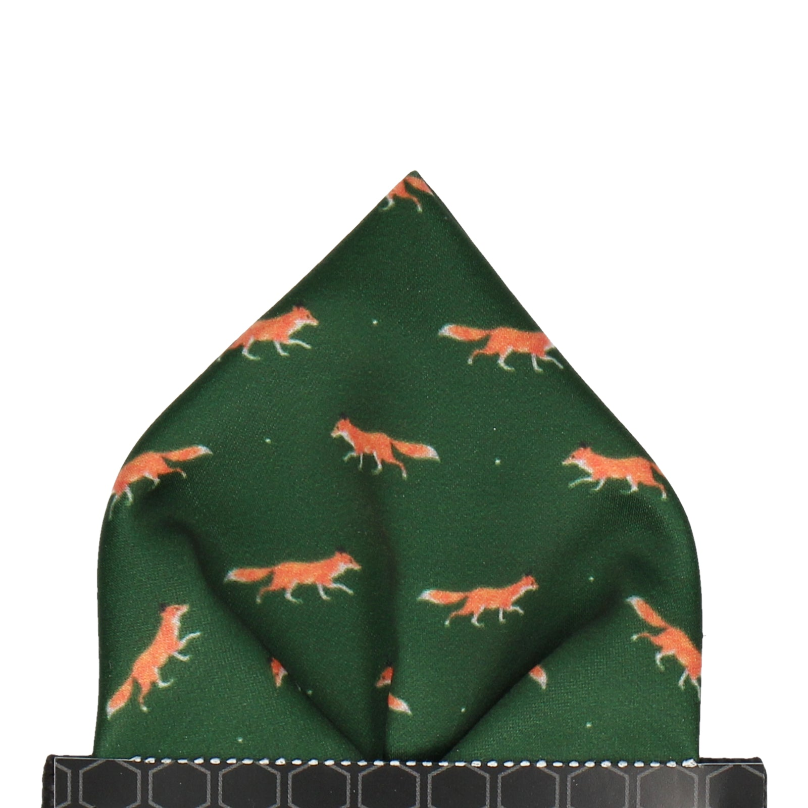 Dark Green Foxes Print Pocket Square