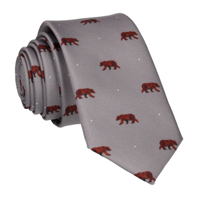 Brown Bear Print Grey Tie