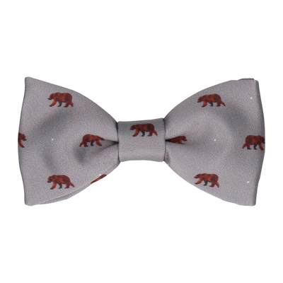 Brown Bear Print Grey Bow Tie