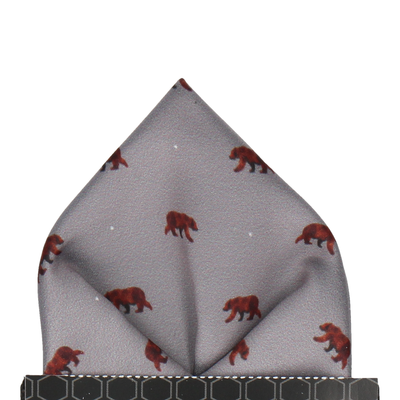 Brown Bear Print Grey Pocket Square