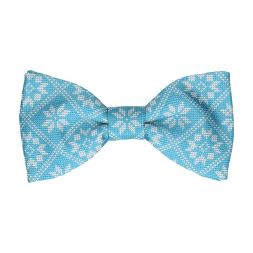 Plaid Fair Isle Blue Christmas Bow Tie