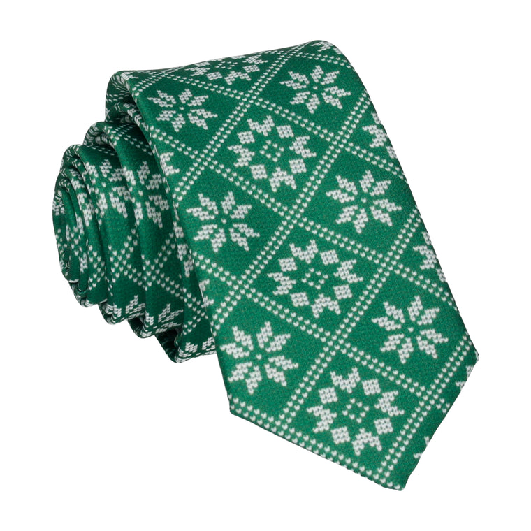 Plaid Fair Isle in Green Christmas Tie