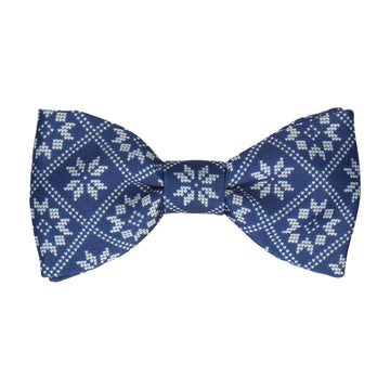 Plaid Fair Isle Navy Blue Christmas Bow Tie