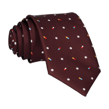Medication Burgundy Red Tie