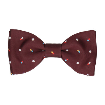Medication Burgundy Red Bow Tie