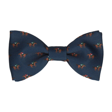 Horse Racing Navy Blue Bow Tie