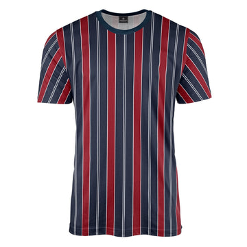Retro Stripe Print Red/Blue T-Shirt