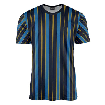 Retro Stripe Print Navy/Yellow T-Shirt