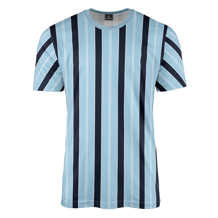 Retro Stripe Print Navy/Sky Blue T-Shirt