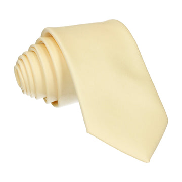 Solid Plain Pastel Yellow Satin Tie