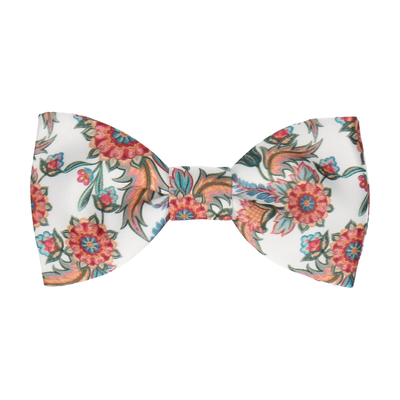 Colourful Floral Vintage White Bow Tie