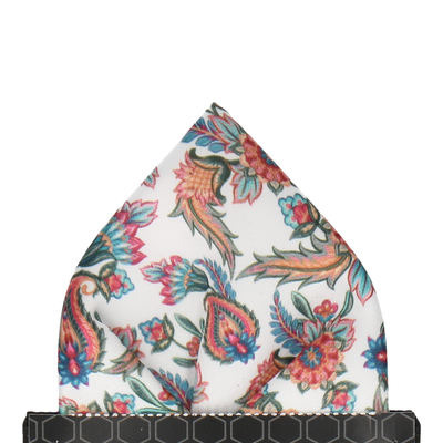 Colourful Floral Vintage White Pocket Square