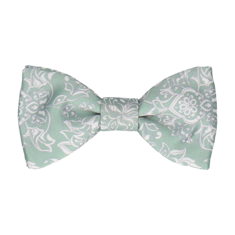 Soft Green Vintage Floral Bow Tie