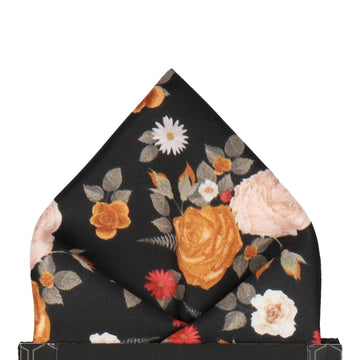 Floral Black Pocket Square