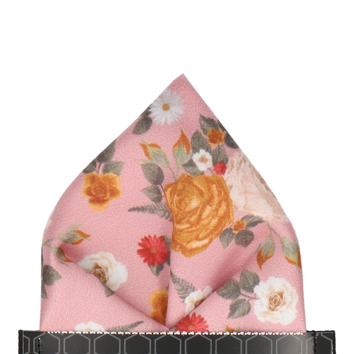 Abbotts Floral Dusky Pink Pocket Square