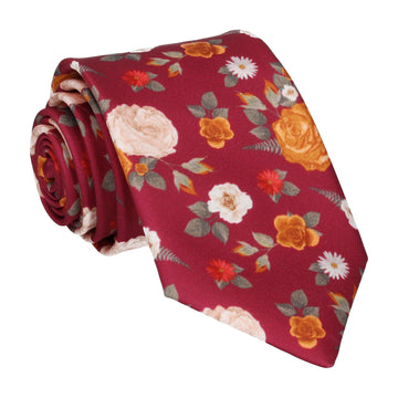 Bordeaux Red Floral Tie