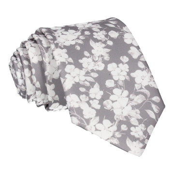 Pale Grey Cherry Blossom Bloom Tie