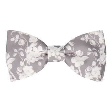 Pale Grey Cherry Blossom Bloom Bow Tie