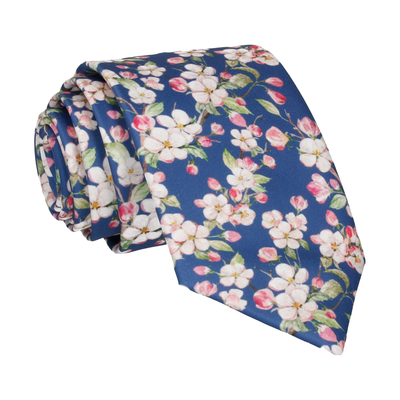 Cherry Blossom Bloom Blue Tie