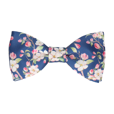 Cherry Bloom Blue Bow Tie