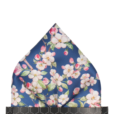 Cherry Bloom Blue Pocket Square