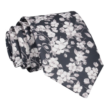 Dark Grey Cherry Blossom Bloom Tie