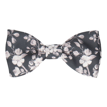 Dark Grey Cherry Bloom Bow Tie