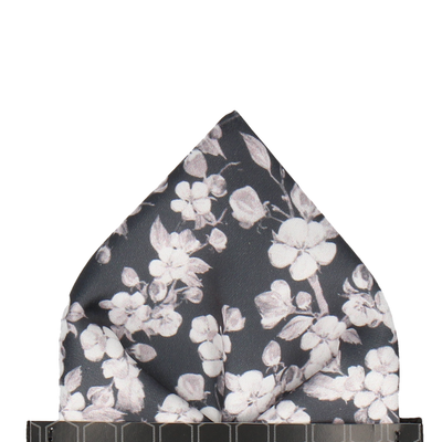 Dark Grey Cherry Blossom Bloom Pocket Square