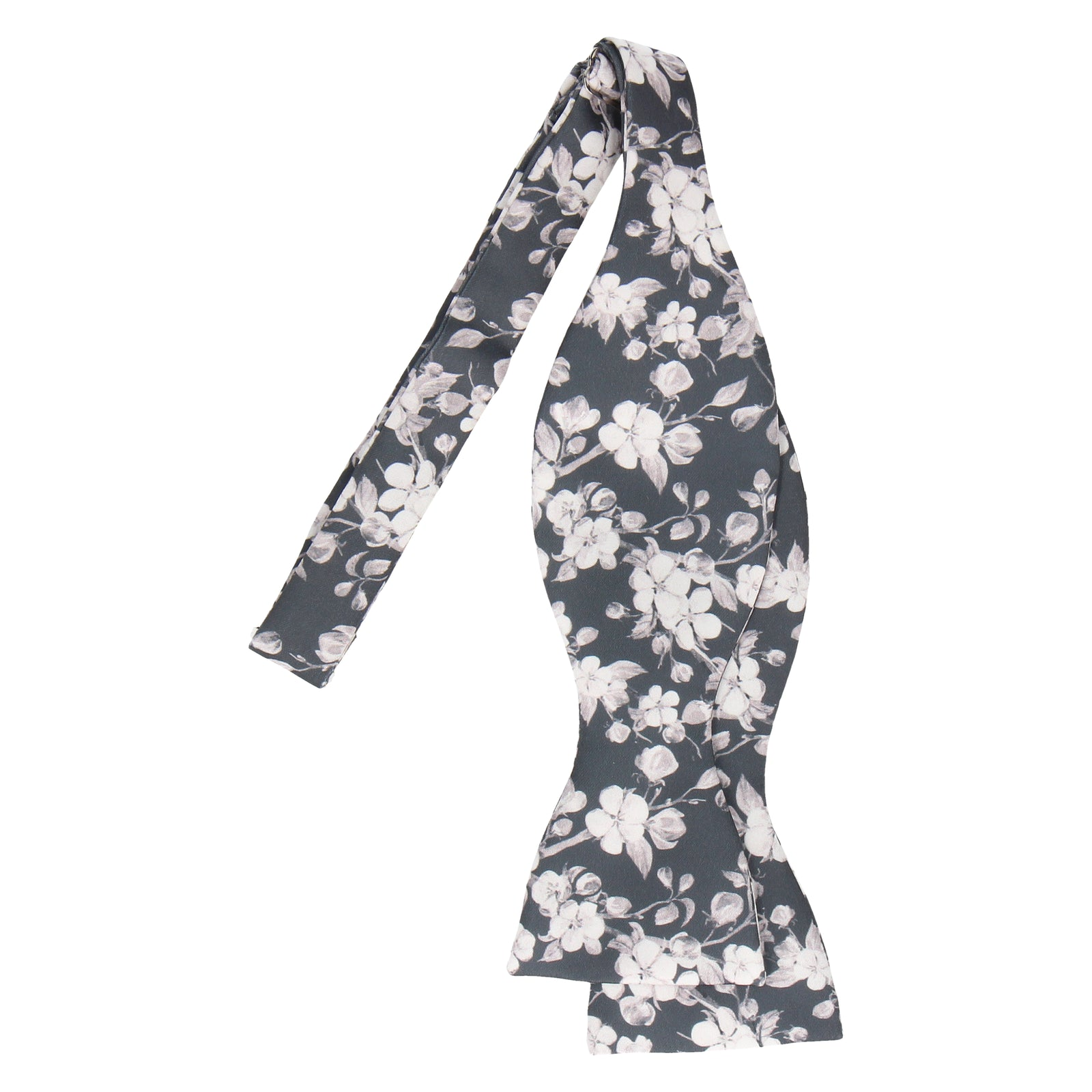 Dark Grey Cherry Blossom Bloom Bow Tie