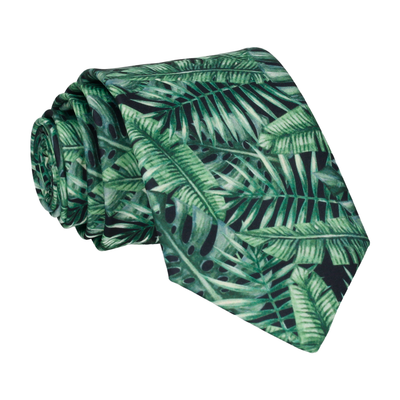 Rainforest Jungle Leaf Print Black Tie