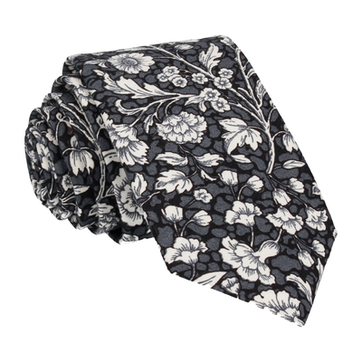 Black Cotton Floral Tie
