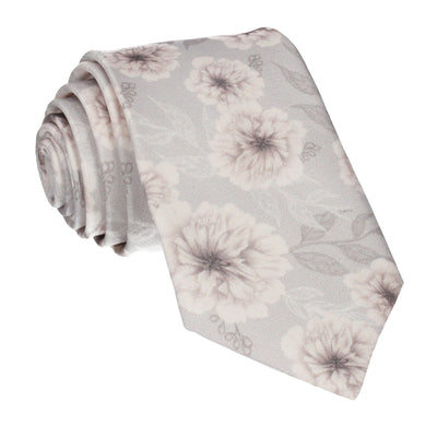 Platinum Grey Wedding Floral Tie