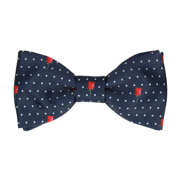 Red Rose Pin Dots Navy Blue Bow Tie