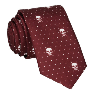 Skull Pin Dots Burgundy Red Tie