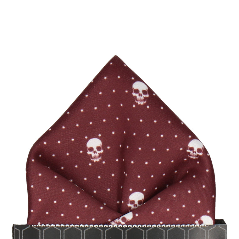 Skull Pin Dots Burgundy Red Pocket Square
