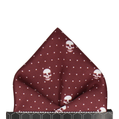 Skull Pin Dots in Burgundy Pocket Square