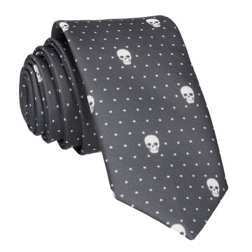 Skull Pin Dots Dark Grey Tie