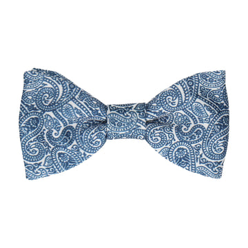 Navy Blue & White Paisley Print Bow Tie