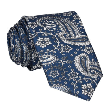 Prussian Blue Floral Paisley Tie