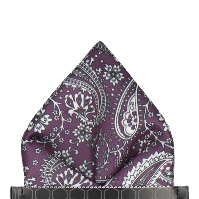 Plum Purple Floral Paisley Pocket Square