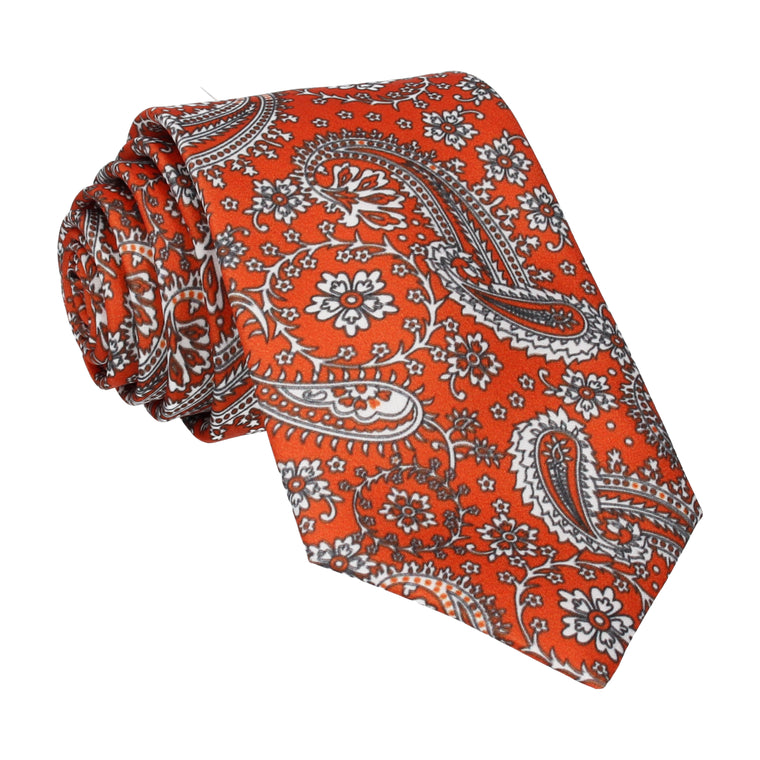 Sunset Orange Floral Paisley Tie
