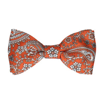 Sunset Orange Floral Paisley Bow Tie