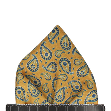 Gold & Navy Tribal Paisley Pocket Square
