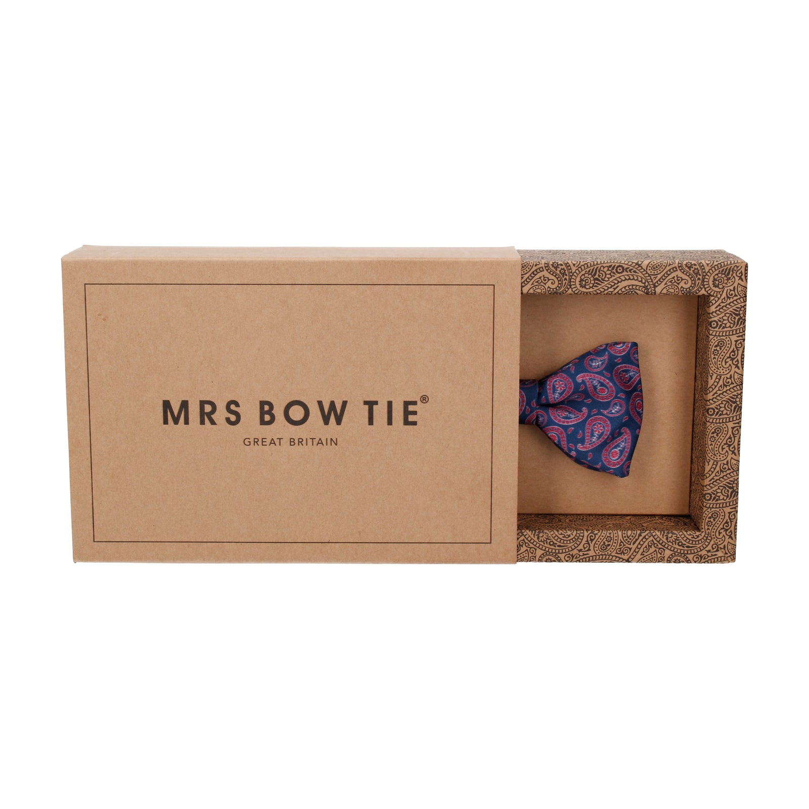Navy Blue & Red Tribal Paisley Bow Tie