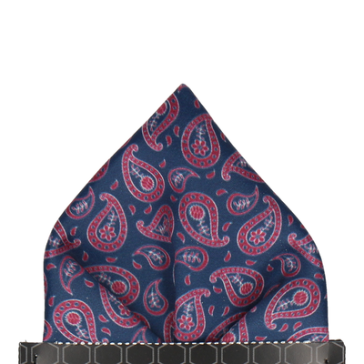 Navy & Red Tribal Paisley Pocket Square